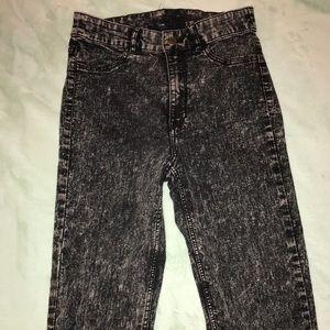 Divided H&M Black Acid Washed Skinny Jeans